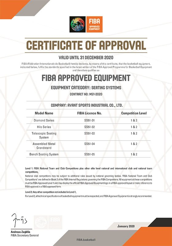 2020 FIBA Approval For Avant Seating Systems
