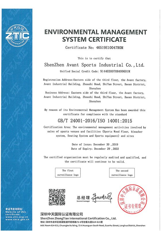 Environmental Management System Certificate ISO14001 2015